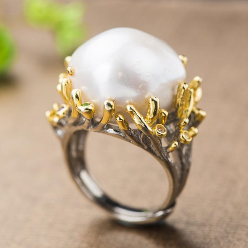 Bague de perle baroque Véritable 925 Sterling Sterling Fleur créative Fleur naturel Perle d'eau douce pour femmes pour les bijoux pour femmes Y1124
