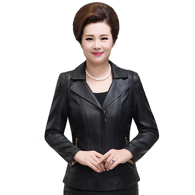 Mulheres de meia idade pu jaqueta de couro inverno outono plus tamanho 6xl falso casaco de couro mulheres elegante jaqueta preta mais algodão