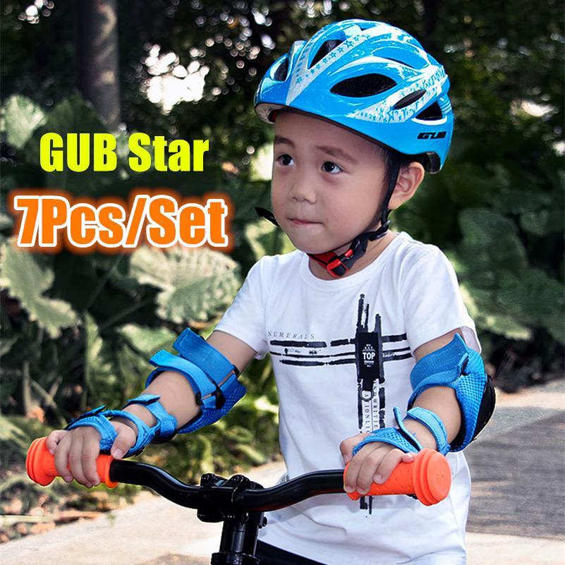 7 pcs Um conjunto GUB STAR CIQUEIRAS Miúdos Dobrável Capacete de Motocicleta Capacete BMX Skate Fixo Capuz Boné Meninas 47-52cm