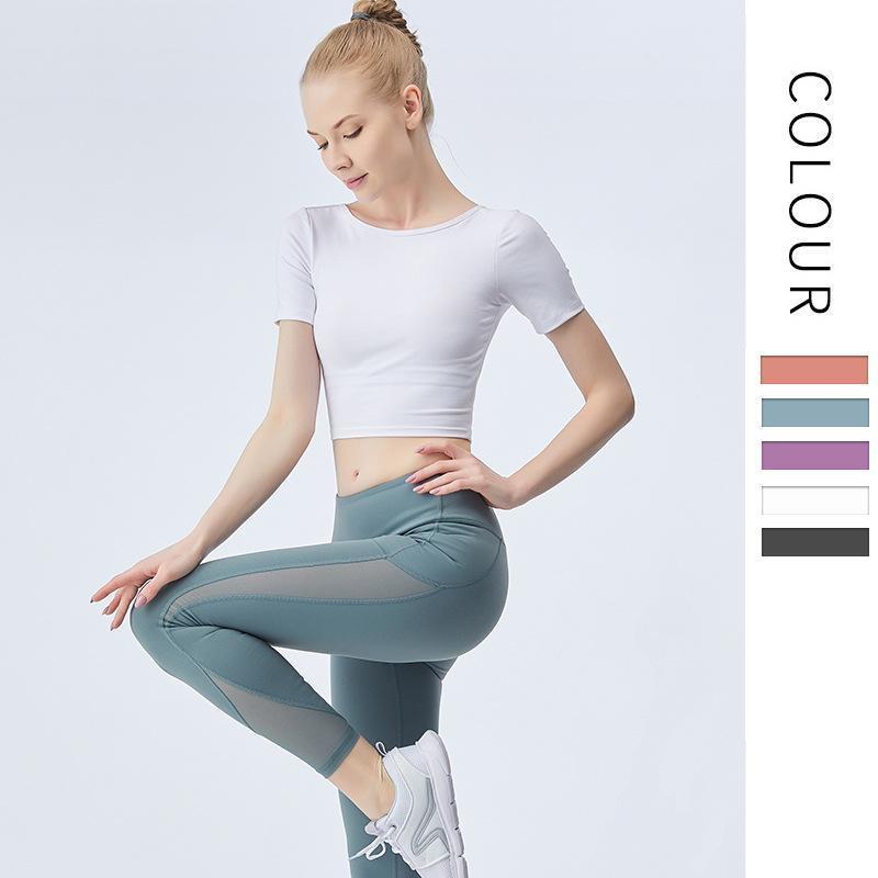 Top Yoga Femme Croix Couleur Solide Casual Nylon Courte Manches Sport Sport Ouest Excellent Fitness Sports Sous-vêtement 2021