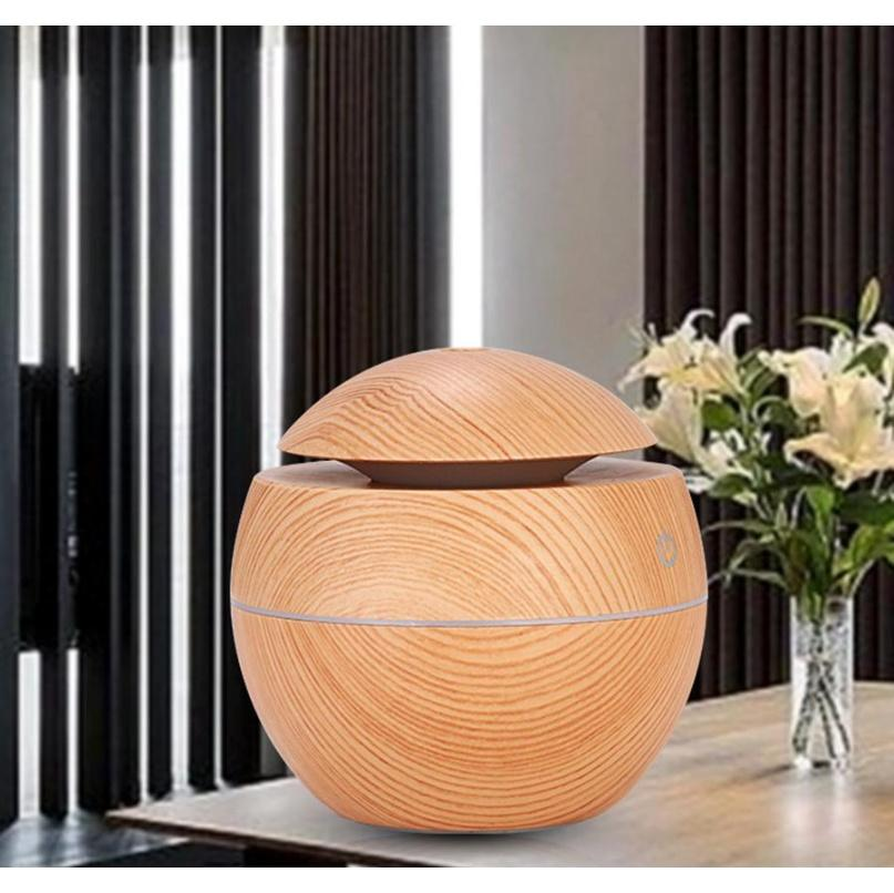 Wood Grain Essential Humidifier Aroma Oil Diffuser Ultrasonic Wood Air Humidifier Usb Mini Mist Maker Led Lights For Home Office Peajo