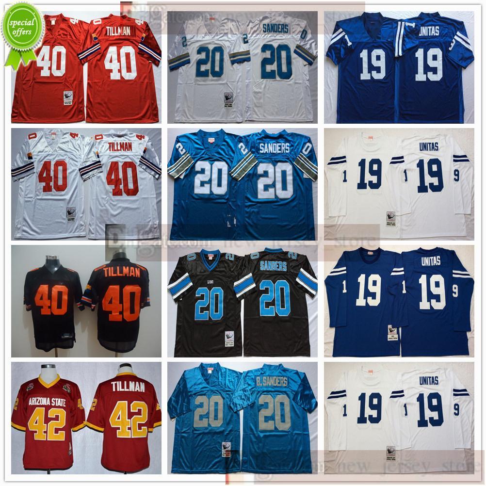 NCAA Football Retro Vintage 40 Pat Tillman Jersey Mens Nähte 20 Barry Sanders 19 Johnny Unitas Jerseys Shirt Schwarz Billig Blau Rot