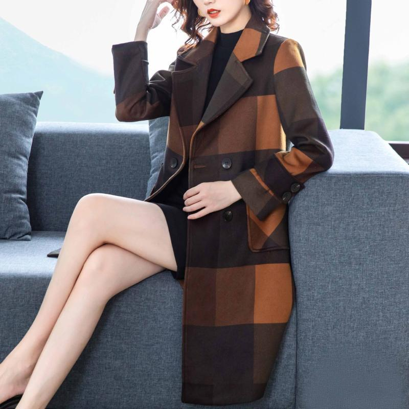Manteau en laine Femmes Automne-mi-longueur de mode d'hiver en vrac Tempérament Minceur style occidental rajeunie ci-dessous le genou Coat