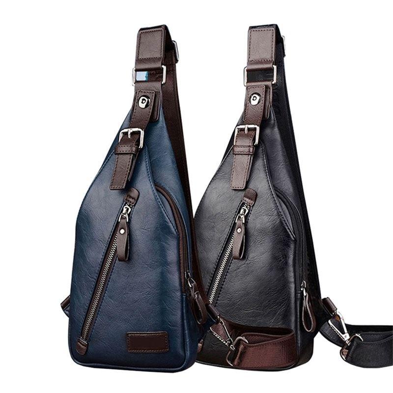 Hommes Cuir / Nylon Vintage Fashion Sling Coffre Travel Cross Corps Messenger Petite Sac à bandoulière Mâle Anti-vol Casual Packs Y201224