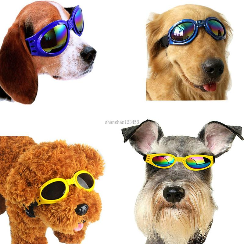 Fashion Dog Sunglasses Goggles Pet Puppy Sunglasses with Adjustable Head and Chin Straps Windproof Eye Wear Protection will and sandy