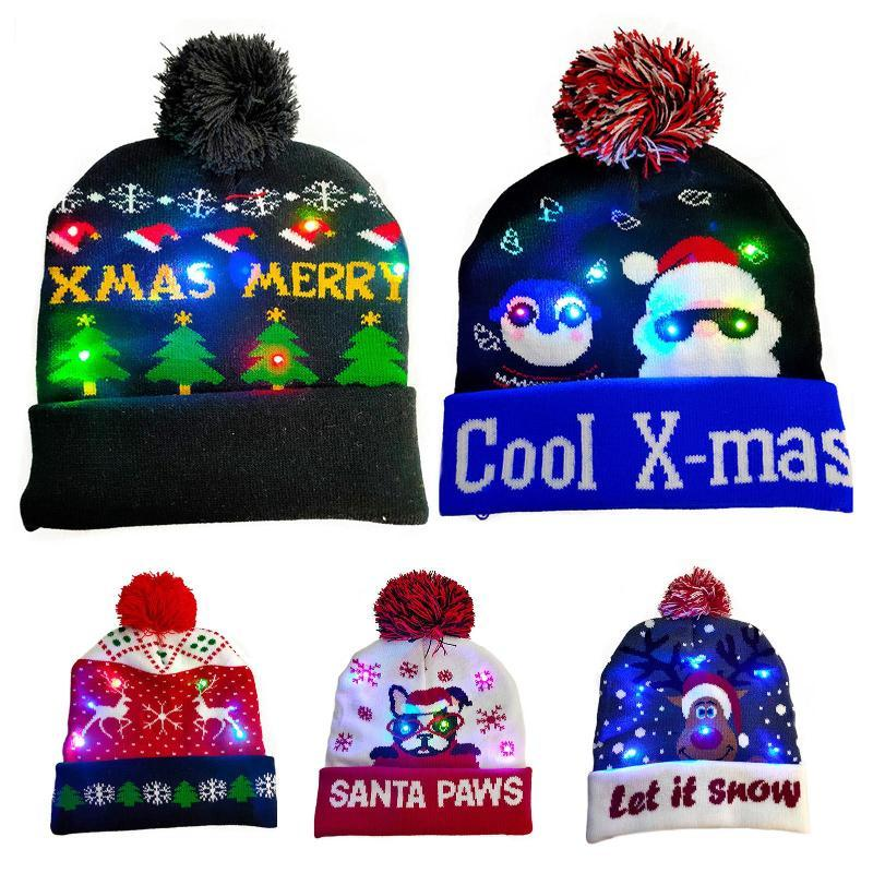 Beanie/Skull Caps Winter Merry Christmas Pompom Hat Cap LED Light-up Warm Knitted Beanie Gift For Party
