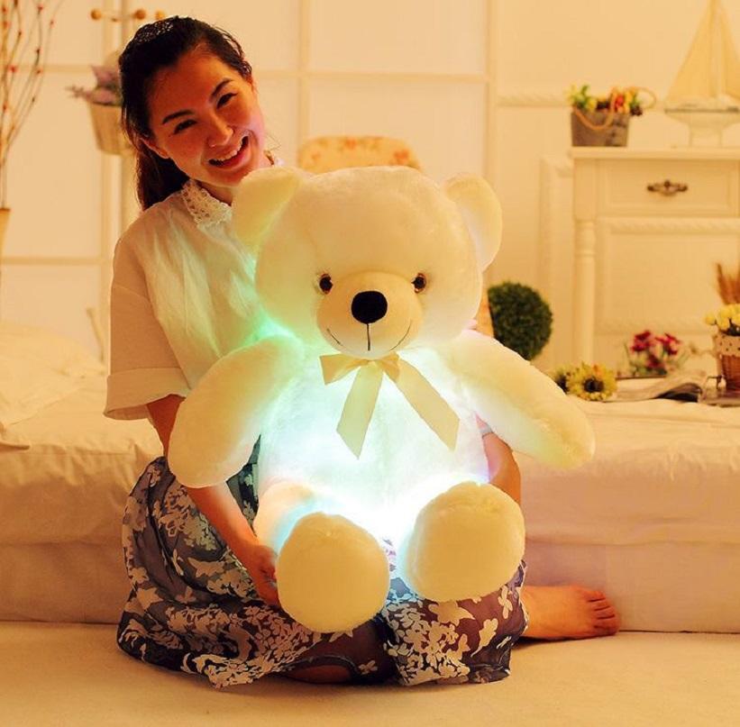 30cm 50cm glowing stuffeed animal led flashing plush cute light up coloful teddy bear dolls toy kid baby toy SEA SHIPPING HHE4151