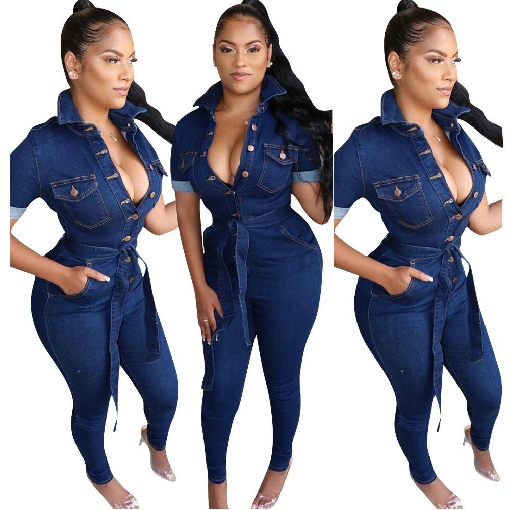 Moda Mujeres Blue Jeans Pumpsuits de alta calidad Mangas cortas de alta calidad Girar el cuello delgado Denim Rompers Real Picture 2020 A1119
