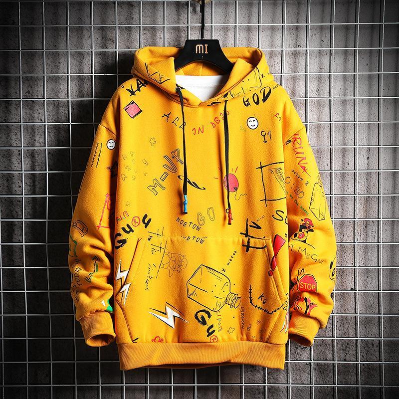 Felpe con cappuccio da uomo Primavera Autunno uomini anime graffiti felpa maschio hip hop horajuku giapponese streetwear felpa con cappuccio