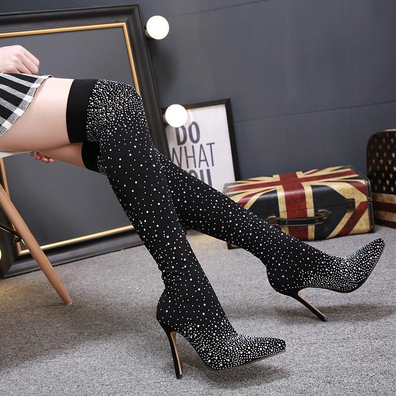 Ddyzhy 2021 Nueva moda Rhinestone High Heel Socks Boots Stretch Pelquilla Sexy sobre las botas de la rodilla Tamaño 35-40