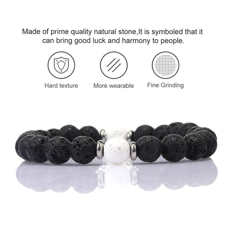 Заводская цена Energy Energy 8 мм Лава Камень Браслеты Новые Моды Целебный баланс Черный Белый Бусин Браслет для Женщин Мужчин