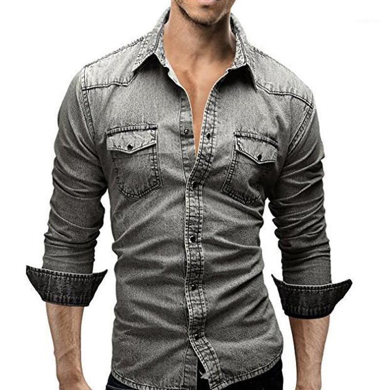 Джинсовая рубашка Мужчины 2020 Мужская джинсовая рубашка Ретро Мужчины Длинный рукав Бренд Одежда Camisa Hombre M-XXXL CFDFD1