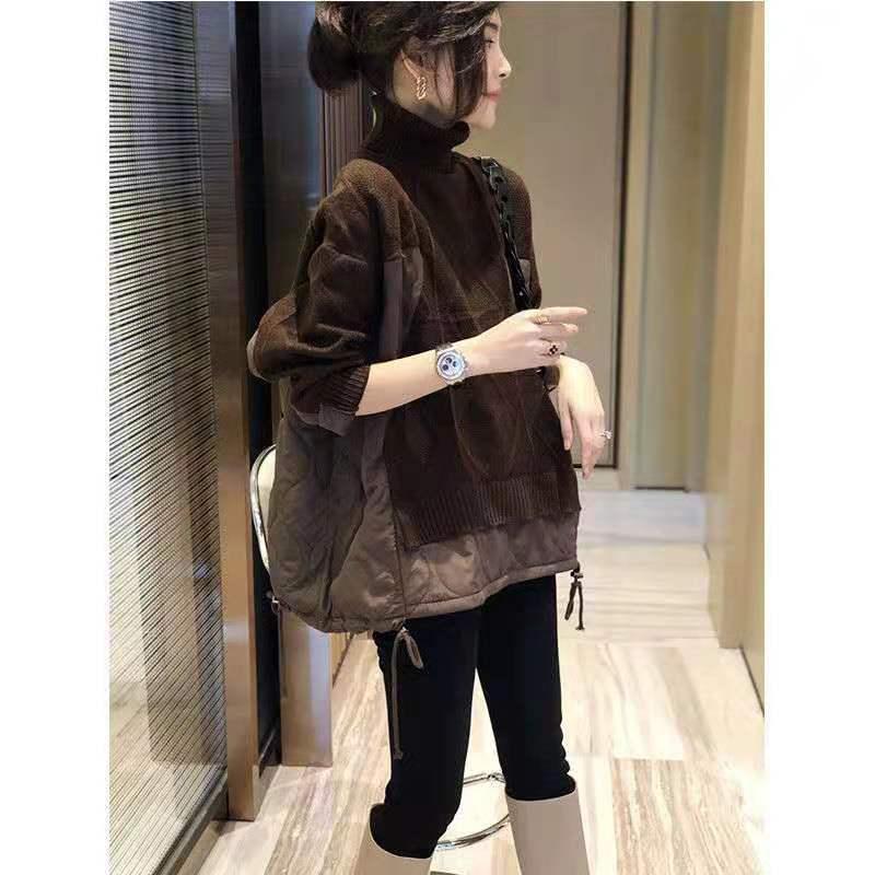 2020 Осень зима Новый Хлопок вязаный свитер Женская подделка две водолазки кофе бесплатный M-3XL