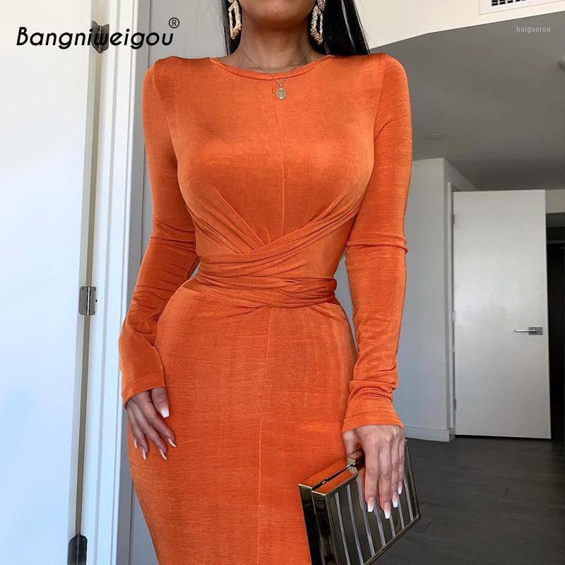 Bangniweigou Ruched талия Wrap Wrap MIDI платье женщин элегантный длинный рукав Bodycon Party платье осень тощий халат Femme сплошной Color1