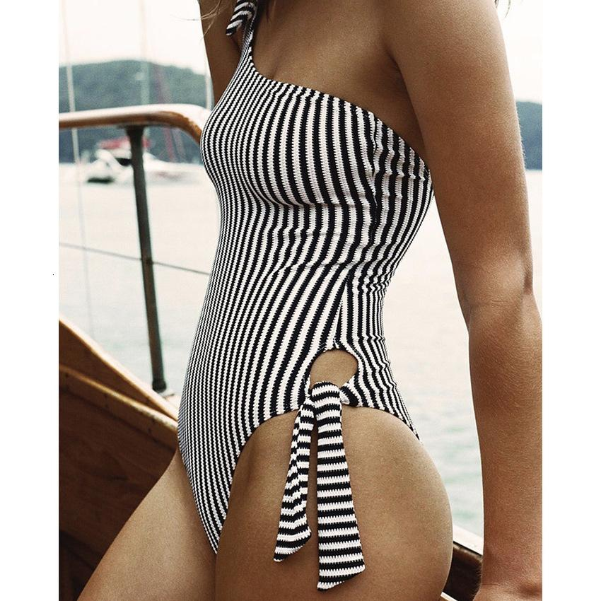 2020 New Solid Shoulder Lace Up One Piece Fashion Stripe Swimsuit 5MGA