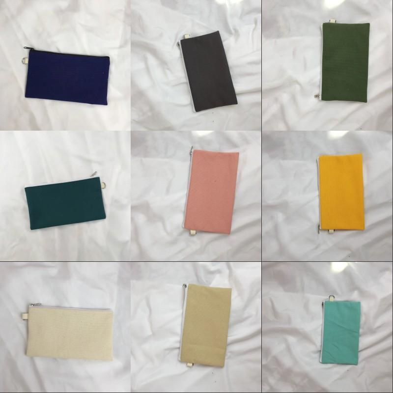 Simplicity Blank Canvas Pencil Cases Pen Pouches Cotton Cosmetic Bags Makeup Bags Mobile Phone Clutch Bag 227 N2