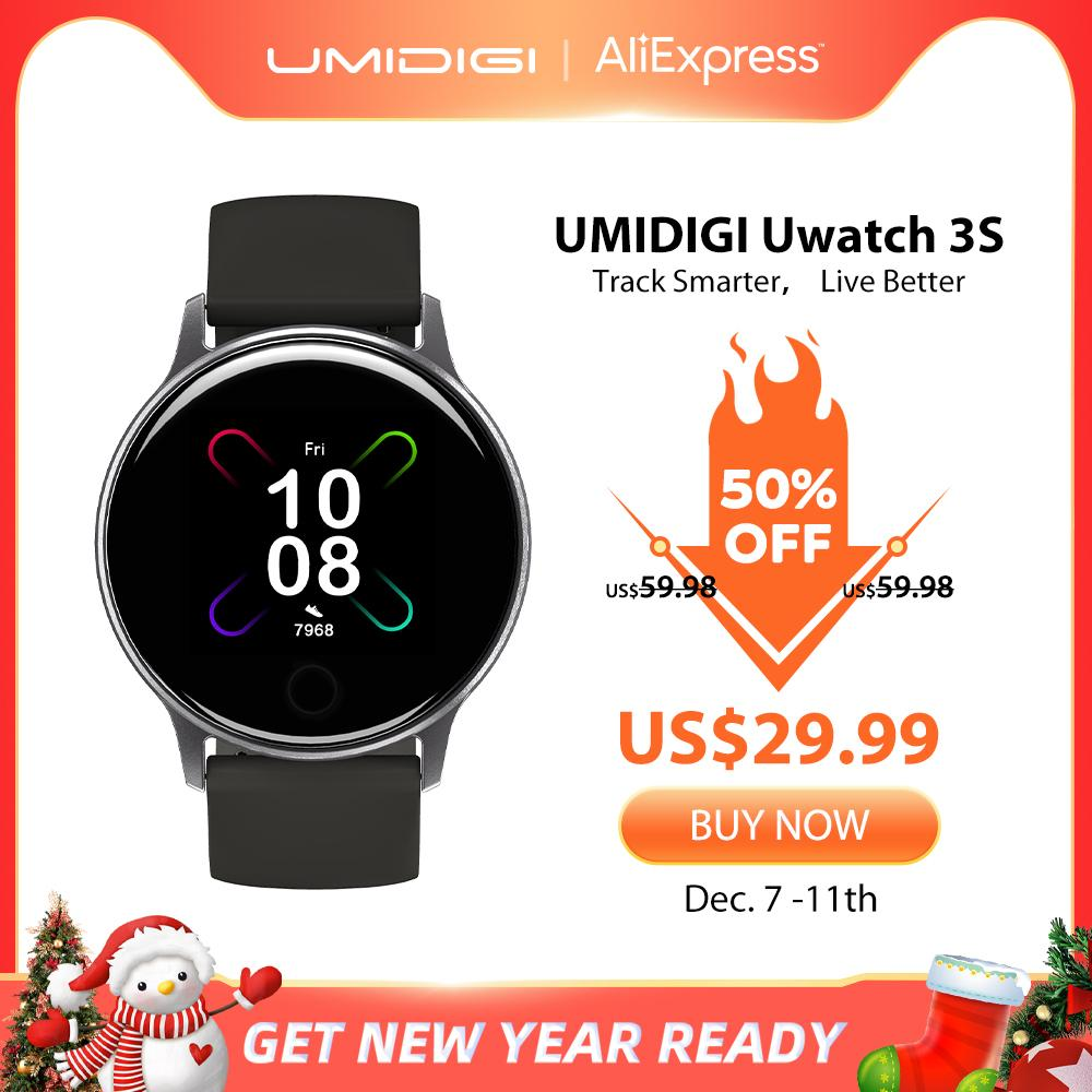 Umidigi Uwatch 3S Smart Watch Hombres Mujeres 5atm Impermeable para Android iOS Reloj Ritmo cardíaco Sueño Monitoreo Smartwatch