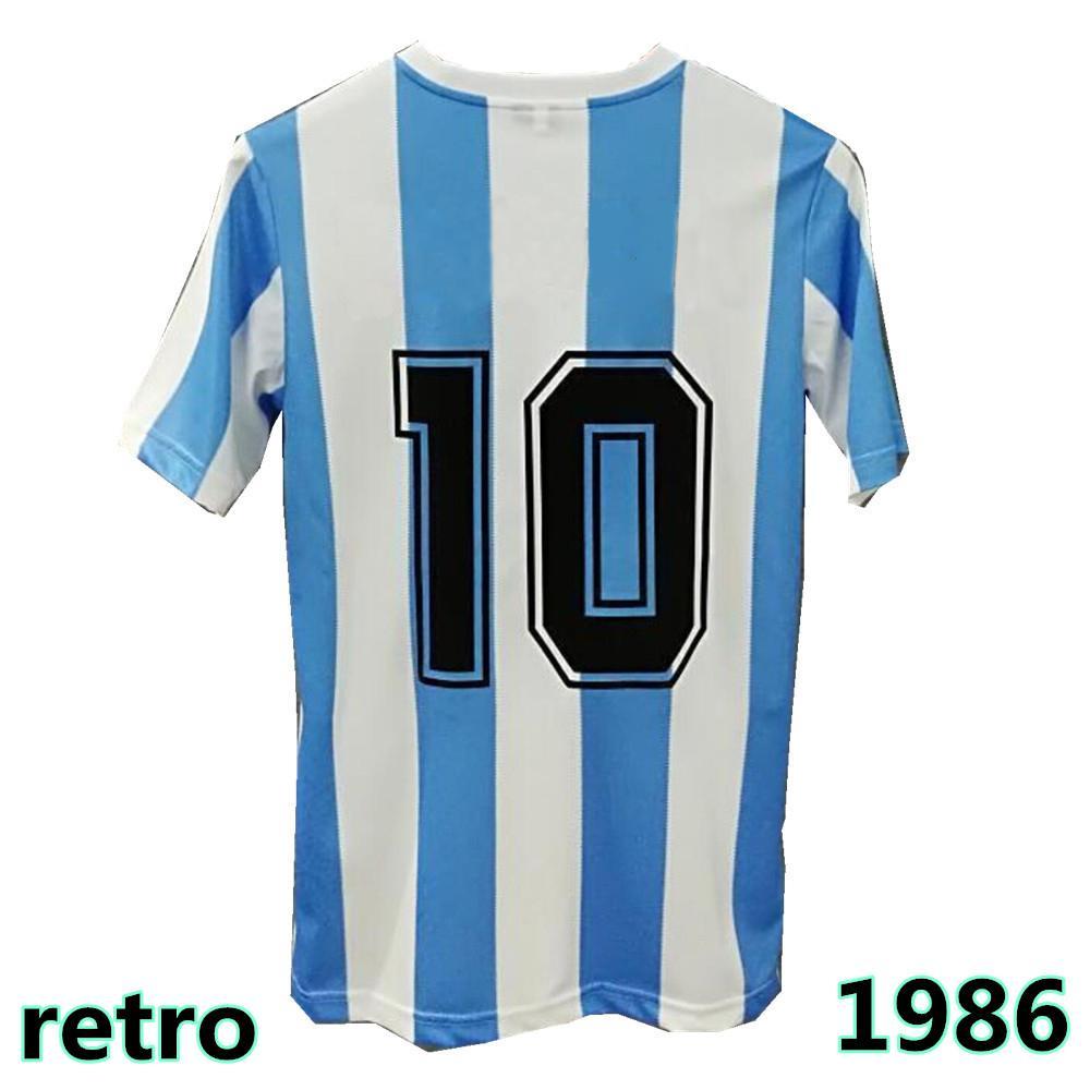 maglie da calcio Jersey da calcio retrò da uomo Top Quality 1986 Retro Maradona Jersey di calcio