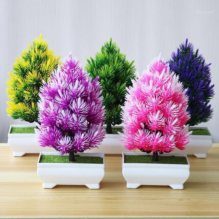Flores artificiales Fake Pot Pot Pine Bonsai Simulación Artificial Ornamento de la planta en maceta Decoración para el hogar Coloful Decoración de la boda1