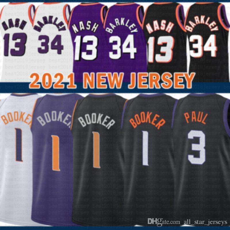2021 Nouveau Devin 1 Booker Jersey Basketball Chris Mens 3 Paul Maches Retro Steve 13 Nash pas cher Charles 34 Barkley Jeunes enfants
