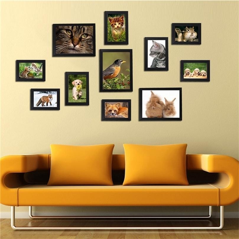 11pcs blanc noir acrylique image image cadre photo de cadre de mur de mur amovible bricolage avec accessoires d'installation Décoration de la maison 201212