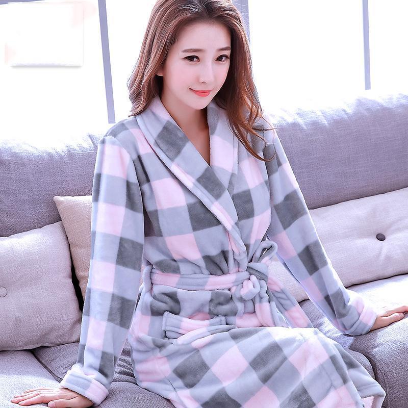 Abiti da bagno morbidi per donne lunghe accappatoio caldo kimono condimento abito abito femminile nightclothes casa vestiti asciugamani