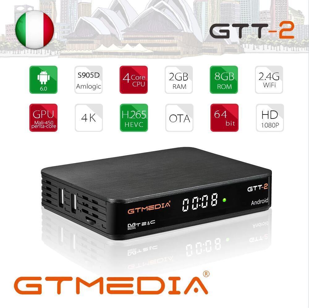 GTMEDIA GTT2 Android 6.0 TV BOX DVB T2/Cable/ISDBT/ATSC-C 2GB 8GB with wifi H.265 4K Set top Box GTT2 DVB T2 TV Box