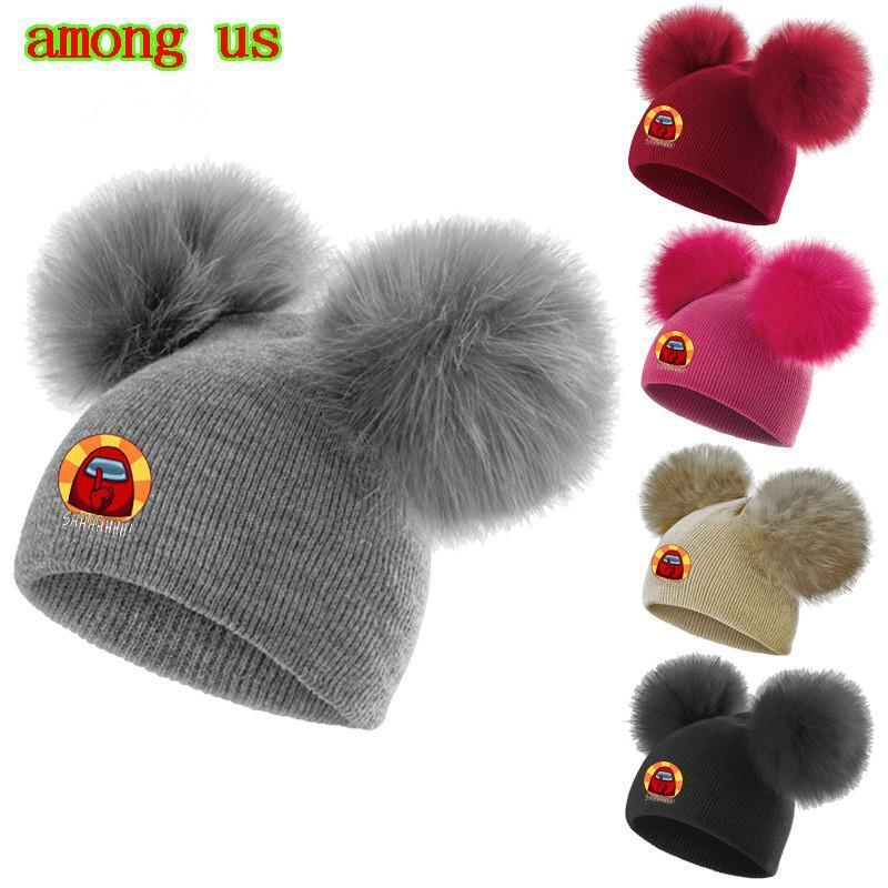Hot Among Us Game Beanie Cap Kids Baby Pom Pom Caps Beanies Cute Cartoon Anime Tuque Toddler Infant Skull Cap Fur Ball Crochet Hat