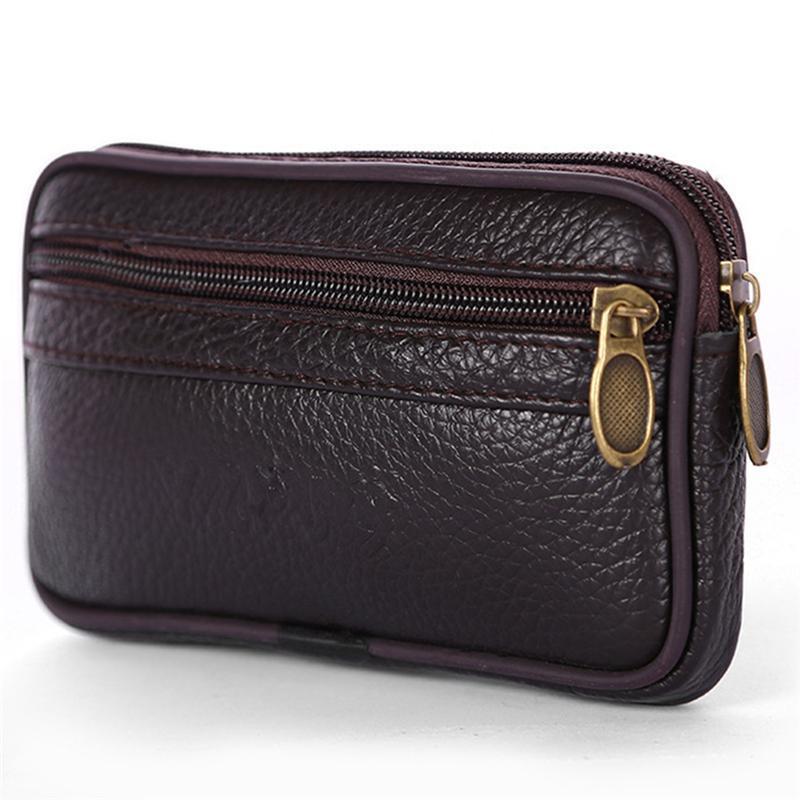 Männer Taille Reisetasche Beutel Gürtel Fanny Bag Bargeld Lederhalter Pack Telefonkarte Hüfte Bum Leder Freizeit Brieftasche Geldbörse ASQJM