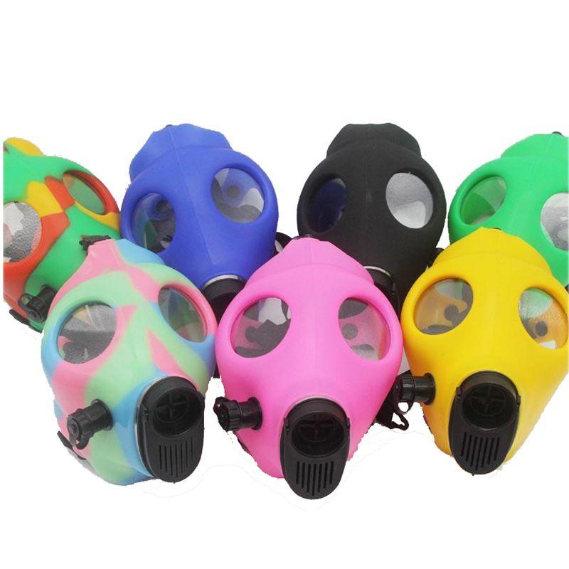 Gasmaske Bong beide Glühen im dunklen Wasser Shisha Acryl Raucherpfeife Sillicone Maske Hukahn Tabakröhrchen Kostenloser Versand DAB-Rigg