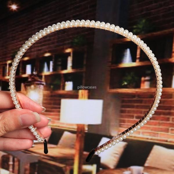 Perle Fascia perline perline Bow Grown Fandbands per le donne Ragazze Nuziale Bridal Hair Hoop Hoop Gioielli gioielli e Sandy