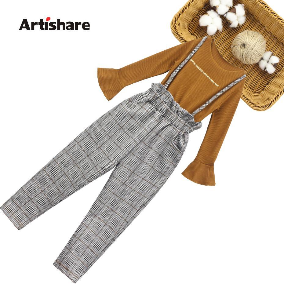 Roupas de roupas de garotas xadrez roupas para meninas moletom + macacão meninas tracksuit roupas de crianças adolescentes conjunto 201126