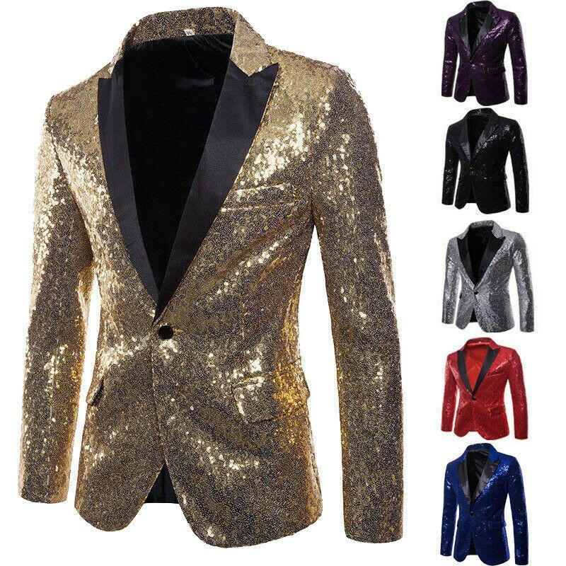 Mode Männer Pailletten One Button Blazer Anzug Jacke Glänzend Hochzeit Formale Tanzclub Mantel