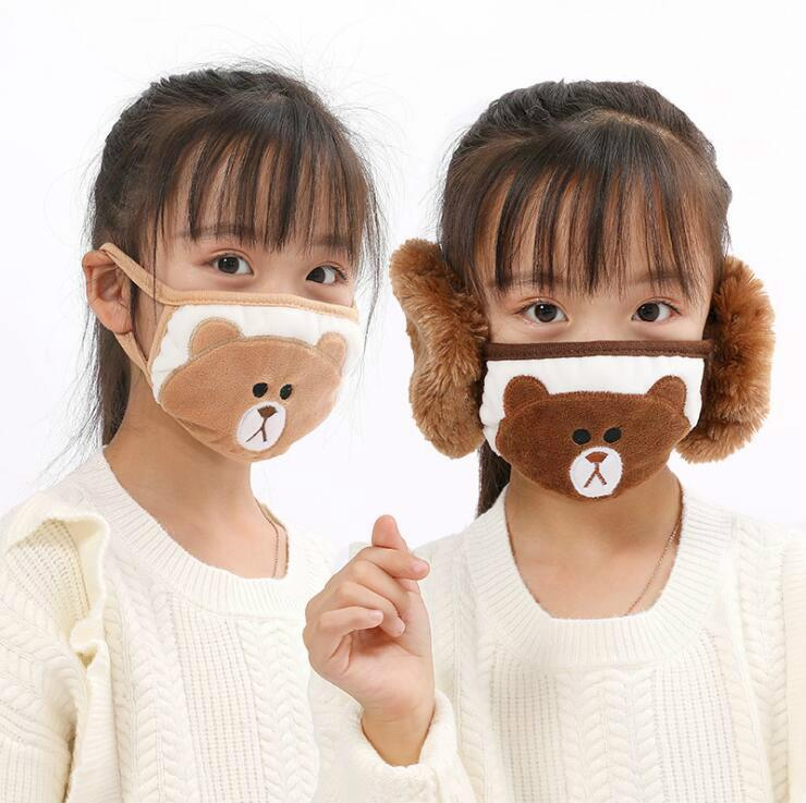 2 In 1 Face Mask Earflap Cartoon Bear Mouth Cover Plush Ear Protective Thick Warm Kids Mouth Masks Winter Mouth-Muffle Earflap BEB3374