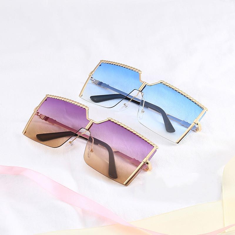 Übergroße quadratische Sonnenbrille Frauen New Shield Sonnenbrille Männer Frauen Mode Farbe Linsen Legierung Rahmen Hohe Qualität Designer Sonnenbrille UV400
