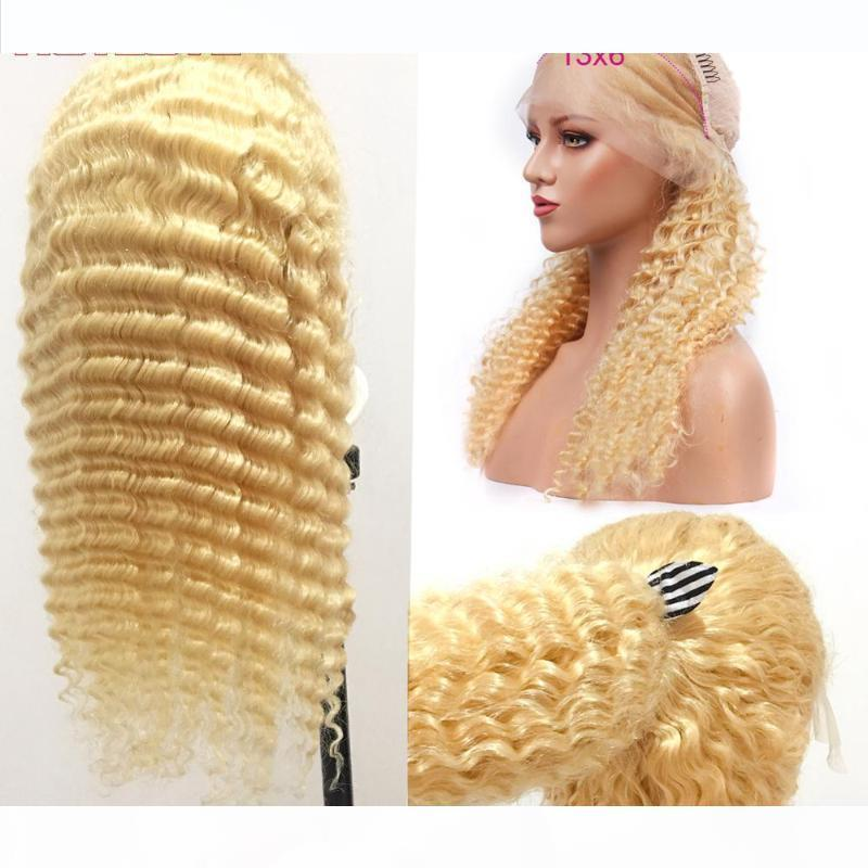 613 Bal Sarışın 13x6 Dantel Ön İnsan Saç Peruk Brezilyalı Derin Dalga Peruk Dantel Açık Peruk Blonde Saç Remy% 150 Yoğunluk