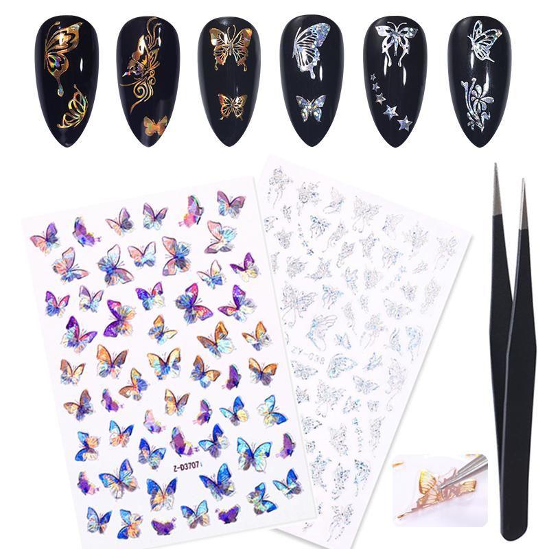 Adesivi Decalcomanie 2pcs Holographics 3D Laser argento Gold Gold Butterfly Nail con Tweezer Set Slider fai da te per decorazione d'arte