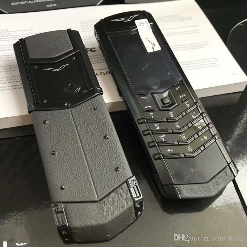 Unlocked Lüks K8 + Altın İmza Çift SIM Kart Cep Telefonu Paslanmaz Çelik Deri Vücut MP3 Bluetooth 8800 Metal Seramik Geri Cep Telefonu