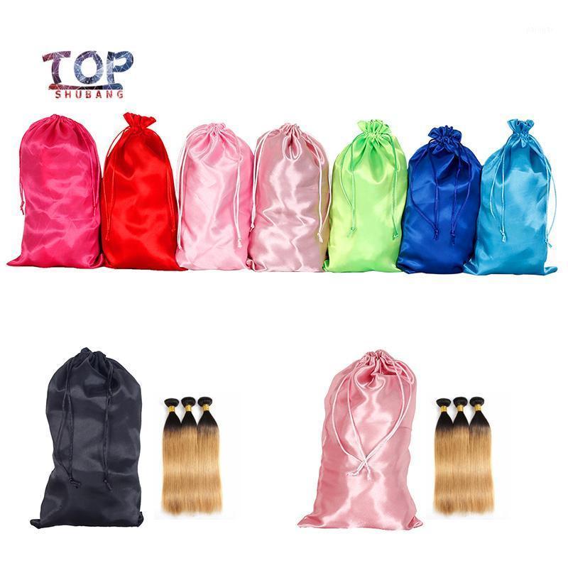 Embalaje en blanco Bolsas de peluca para zapatos Paquete Cosméticos Underware Pelo Bolsa de satén Maquillaje Bolsas Tamaño personalizado BAG1