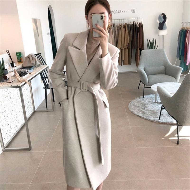 Kadın Uzun Ceket Sonbahar veya Sıcak Kış Bayan Modası Kemer Ile 201214