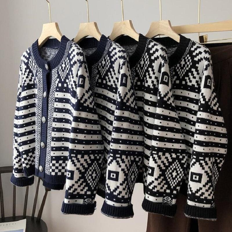 Женские вязаные тройники осень зима корейский стиль одиночные кардиганы короткие женские свитеры с длинным рукавом модный шикарный женский K