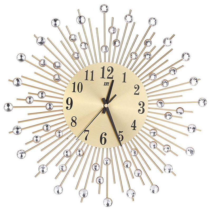 Horlo-mural Horloge Diamants décoratifs rond horloge en métal Salon de séjour Décor Quartz Horloges modernes Horloges minimalistes modernes (Or)