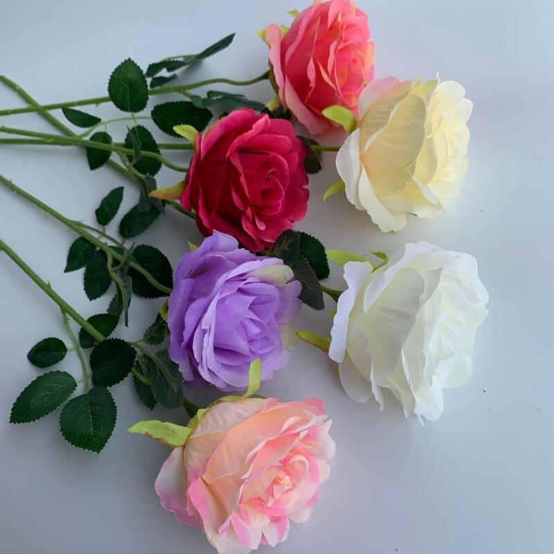 Single Silk Rose Flower Artificial Rose Flowers Real Touch Wedding Party Home Decor Rose Flower LX4371