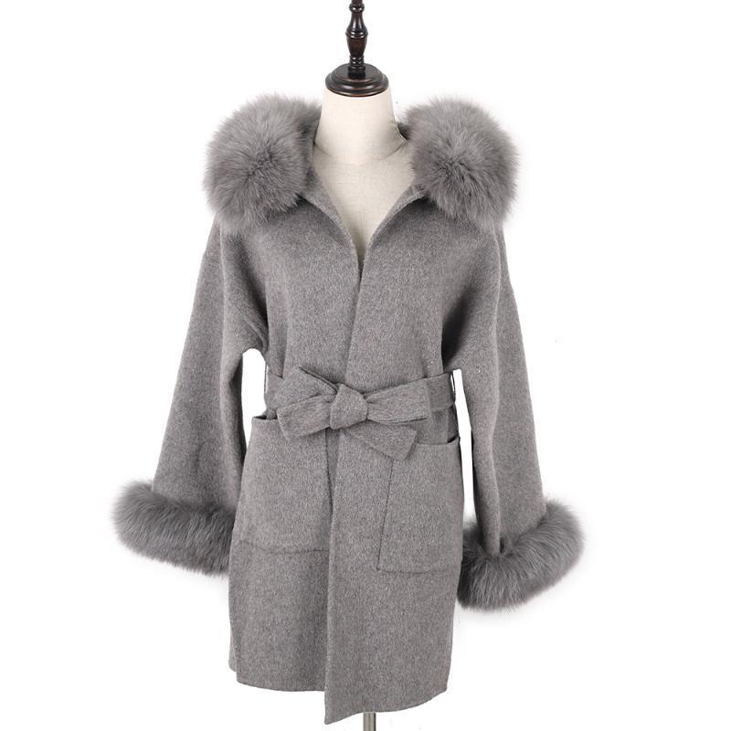 Escudo Lavelache Marca las mujeres del invierno de la cachemira gris largo de lana chaqueta de abrigo de pieles verdadero collar Cuff extraíble con cinturón de bolsillo