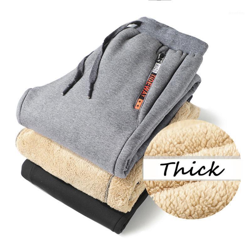 Calças masculinas inverno homens corados corredores corredores espessos sweatpants cordão calças fleece correndo quente plus tamanho 8xl1
