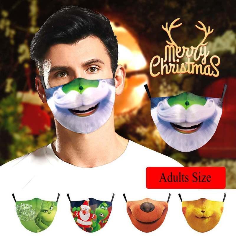 Divertido grinch estole navidad santa 3d impresión algodón cosplay mascarilla cara lavable reutilizable ajustable a prueba de polvo a prueba de polvo máscaras de fiesta