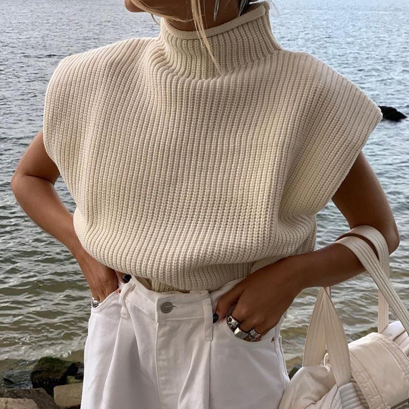Frauen Pullover Vintage Sleeveless Rollkragenpullover Lose Übergröße KPOP 2021 Frühling Neue gestrickte Jumper Weibliche Pullover