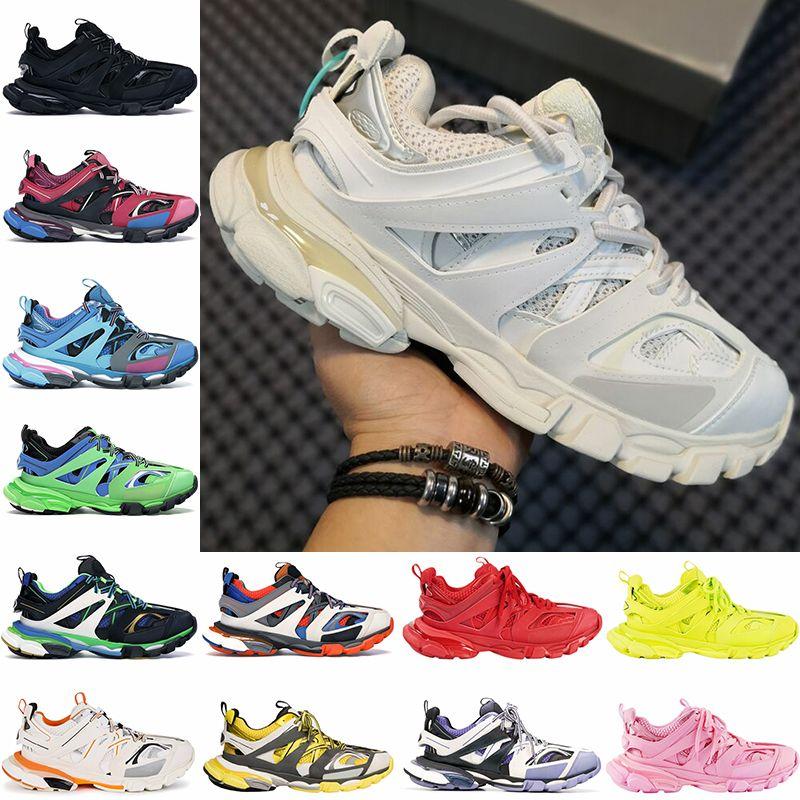 2021 En İyi Kalite Paris Triple S 3.0 Platformu Rahat Ayakkabılar Siyah Beyaz Pembe Sarı Glow Karanlık Erkekler Kadın Sneakers