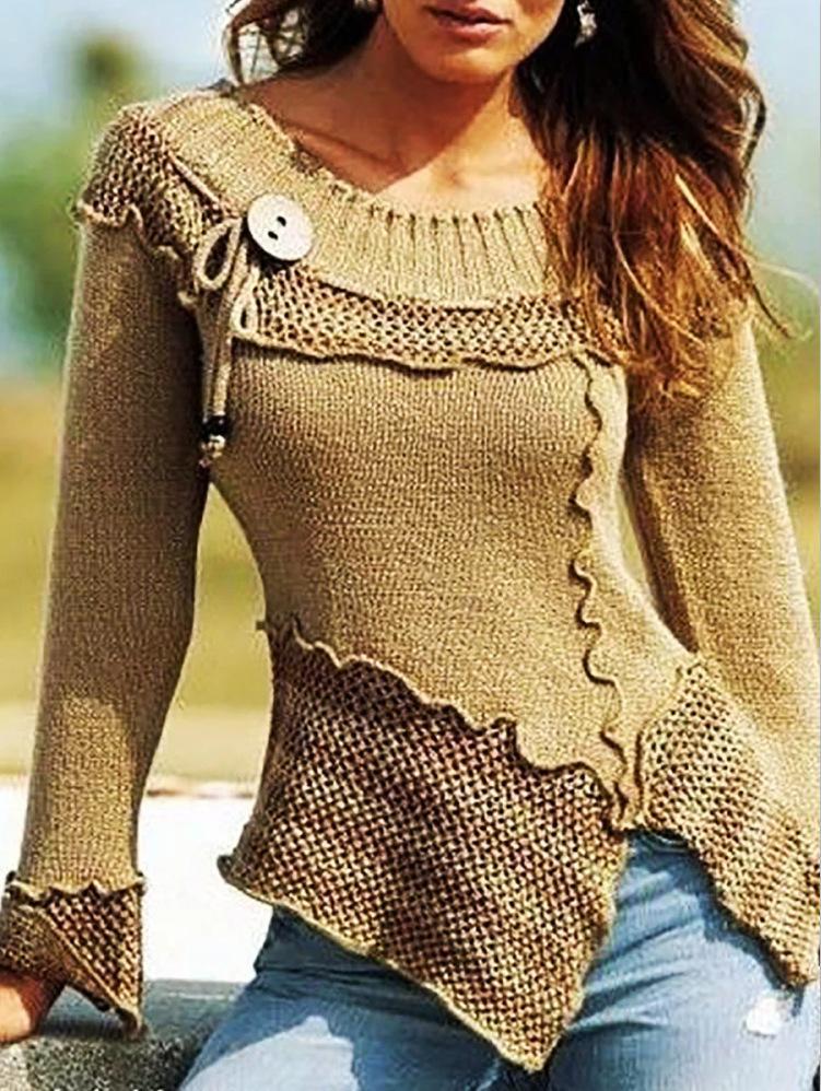 Venta caliente 2020 Otoño e invierno Nueva costura de moda Cuello redondo Retro Sweater de manga larga