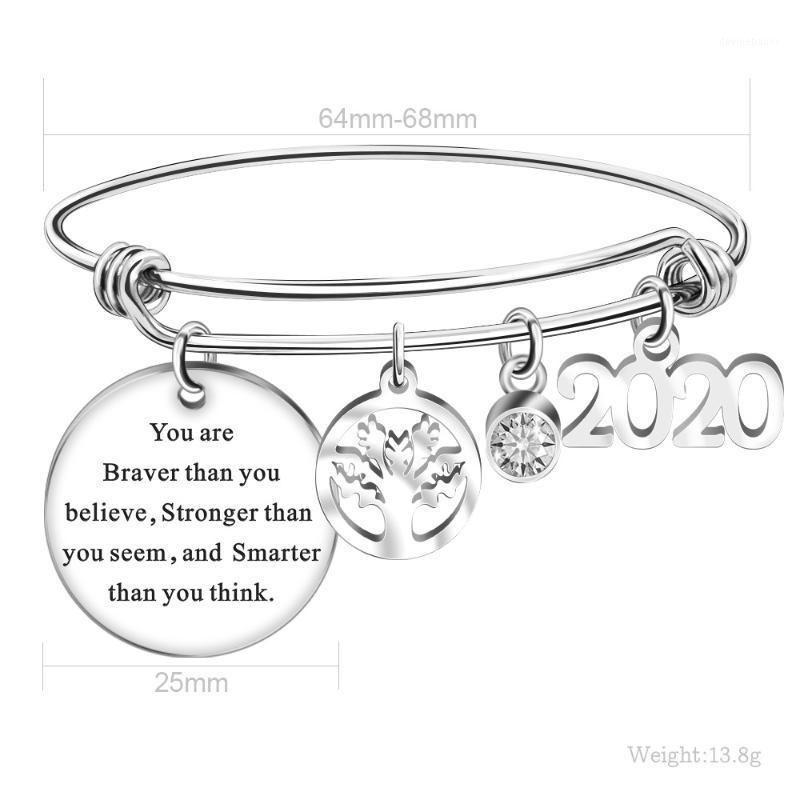 Bangle 2021 Graduation Bijoux Bijoux Bracelet en acier Titanium Round Pendentif Charm Bracelets Réglable pour les étudiants Collégiale Gift1